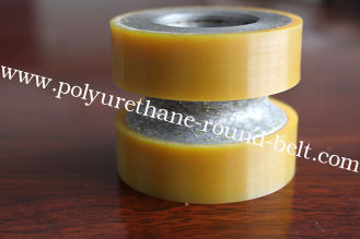 China Yellow High Density Polyurethane Wheels Heavy Duty Coating Rollers Wheels Replacement supplier