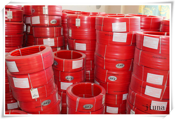 Red Transmission Polyurethane Flat Belt Low Compression Set Industry Textile Machines