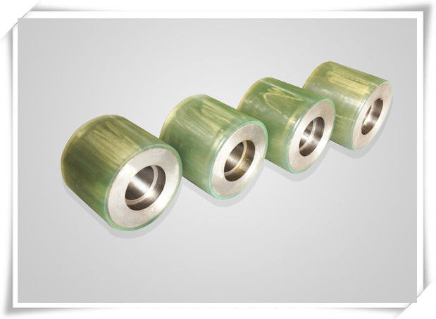 Bisque Polyurethane Wheels Coating with Iron Core , Oil Resistant